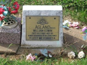 William Edwin Agland's headstone. Image courtesy Orange Cemetery.