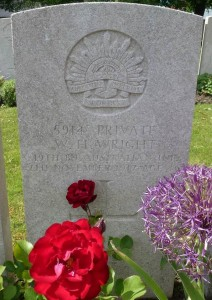 William Wright's headstone, Lijssenthoek Military Cemetery, Belgium. Image courtesy Sharon Hesse.