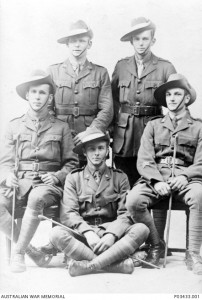 Five members of the 9th Field Company, Australian Engineers. Sergeant Herbert Velvin-Smith is seated on the right. Image courtesy Australian War Memorial.