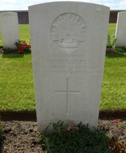 Christopher Gage's headstone, New Irish Farm British Cemetery, Belgium. Image courtesy Sharon Hesse.