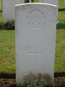 Edmund Cornish's headstone, Cerisy-Gailly Military Cemetery, France. Image courtesy Sharon Hesse.