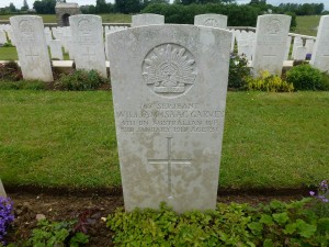 William Garvey's headstone, Bull's Road Military Cemetery, France. Image courtesy Sharon Hesse.