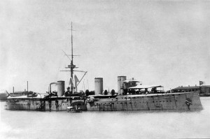 Russian cruiser Zhemchug. Image in public domain.