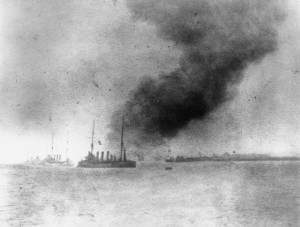 HMS Bulwark explodes off Sheerness, 26 November 1914. Image courtesy Imperial War Museum.
