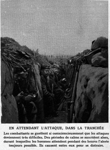 French troops passing time in a trench during the Battle of Champagne. Image courtesy Le Miroir, 27 décembre 1914.