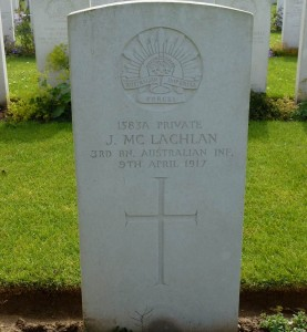 Jack McLachlan's headstone, Beaumetz Cross Roads Cemetery, France. Image courtesy Sharon Hesse.