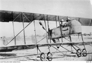 Two members of the Half Flight seated in a Maurice Farman Shorthorn aircraft, Mesopotamia, 1916. Image courtesy Australian War Memorial.