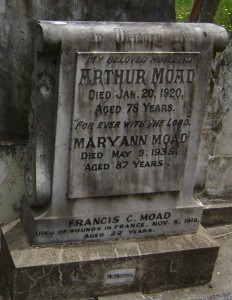 Francis Moad's parents' headstone in Orange Cemetery.