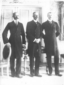 Three Scandinavian kings at Malmo in December 1914. Image in public domain.