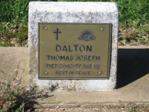 Thomas Joseph Dalton's headstone, Orange Cemetery. Image courtesy Lynne Irvine.