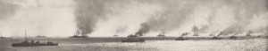 Panoramic view of the Dardanelles fleet by unknown British Navy photographer. Image in public domain.