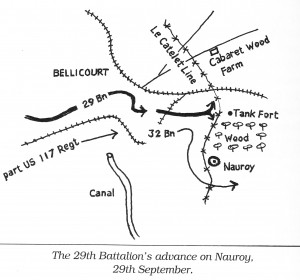 Map of the Battle of Nauroy 1918. Image courtesy Black and gold: the history of the 29th Battalion, 1915-1918.