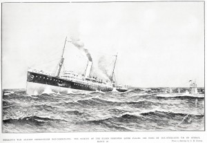 Drawing of the sinking of the Elder Dempster liner Falaba, 28 March 1915. Image courtesy Sir George Grey Special Collections, Auckland Libraries, AWNS-19150422-47-2.