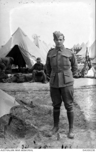 Herbert Maurice Robertshaw at Broadmeadows army camp, Victoria, October 1914. Image courtesy Australian War Memorial.