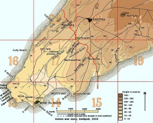 Map of the Helles war zone of Gallipoli, 1915. Image courtesy Rcbutcher, Wikimedia Commons.