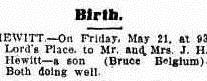 Birth notice appearing in the Leader, 24 May 1915.