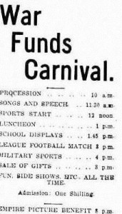 Advertisement for the War Funds Carnival to be held on Empire Day, 24 May. Image courtesy Leader.