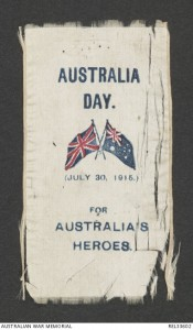 Australia Day 1915 fund raising ribbon. Image courtesy Australian War Memorial.