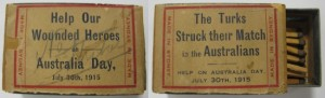 Australia Day patriotic fundraising matchbox, 1915. Image courtesy Australian War Memorial.