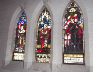 Stained glass window in memory of Roy Stanford (centre panel), Holy Trinity Church Orange. Image courtesy Julie Sykes.