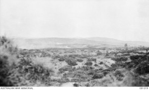 Burning scrub on the seaward slopes of Hill 60, CEW Bean, 27 August 1915. Image courtesy Australian War Museum.