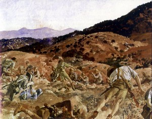 The charge of the 3rd Light Horse Brigade at The Nek 7 August 1915, George Lambert, 1924. Image courtesy Wikimedia Commons.