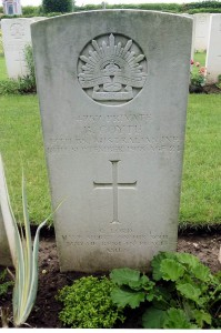 Bernard Ambrose Coyte's headstone, Jeancourt Communal Cemetery Extension, France. Image courtesy Sharon Hesse.