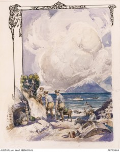 Private Frank Crozier's illustration of Anzac Cove. In the distance is the snow capped island of Samothrace. Image courtesy Australian War Memorial.