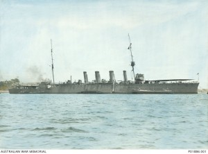 HMAS Brisbane moored in Farm Cove shortly after completion, 1915. Image courtesy Australian War Memorial.