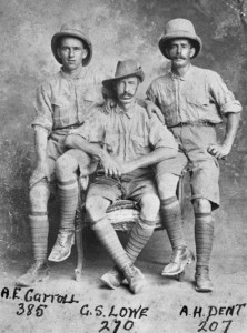 Albert Edward Carroll (left), shortly before the 19th Battalion departed for Gallipoli. Image courtesy Australian War Memorial.