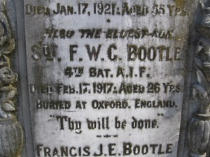 Francis William Courtenay Bootle commemorative plaque. Image courtesy Orange Cemetery.