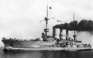 The German Imperial Navy cruiser SMS Prinz Adalbert pre1914. Image courtesy Bain News Service, New York.