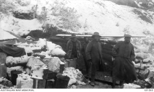 A kitchen in the snow in White Gully, Gallipoli peninsula, CEW Bean, November 1915.