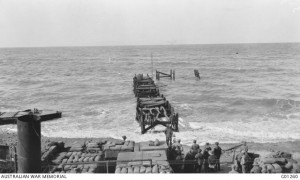 The storm damaged Watson's Pier, Gallipoli. CEW Bean, 18 November 1915. Image courtesy Australian War Memorial.
