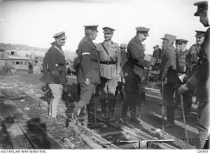 Lord Kitchener with the French Commander-in-Chief. Lieutenant-General Sir William Riddell Birdwood is behind Lord Kitchener, Ernest Brooks, Gallipoli, November 1915. Image courtesy Australian War Memorial.
