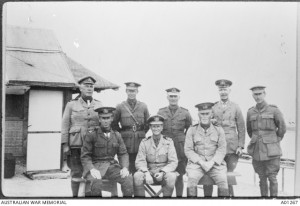 Lieutenant Commander Bracegirdle (front centre) with fellow officers of the 1st Royal Australian Navy Bridging Train, Egypt, 1916. Image courtesy Australian War Memorial.