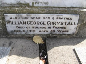 William George Chrystall commemorative plaque. Image courtesy Orange Cemetery.