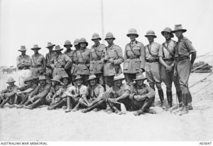 7th Light Horse Regiment officers, Maadi, Egypt. James Dalton is in the back row on the far left. Image courtesy Australian War Memorial.