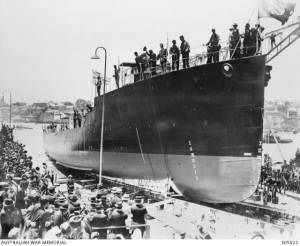 The launch of HMAS Swan, Cockatoo Island, 11 December 1915. Image courtesy Australian War Memorial.