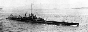 The French submarine Monge. Image in public domain.