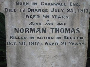 Norman Thomas Trethewey memorial plaque. Image courtesy Orange Cemetery.