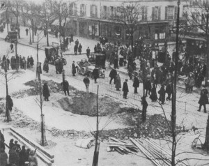 Crater of a zeppelin bomb in Paris. Image in public domain.