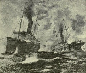 Unknown artist's impression of HMS Alcantara and SMS Greif in battle. Image courtesy The Times History and Encyclopaedia of the War Vol XXI, London 1920, p. 127.