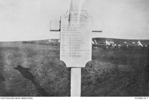 Commemorative plaque erected in the memory of 13 men of the 11th Australian Light Horse killed in action 7 November 1917 near Gaza, Palestine. Image courtesy Australian War Memorial.