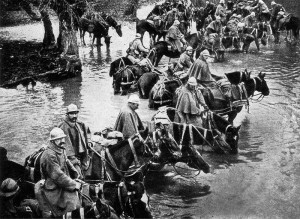French horses resting in a river on their way to Verdun. Image courtesy National Geographic, Vol 31 1917, p. 338.