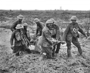 The muddy Verdun battlefield 1916. Image in public domain.