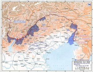 Map of Northeastern Italy 1915-1917 depicting the Isonzo battles. Image courtesy History Department of the US Military Academy West Point.