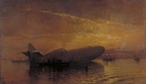 St George and the Dragon: Zeppelin L-15 in the Thames by Donald Maxwell. Image courtesy Imperial War Museum © IWM, Art. IWM ART 888.