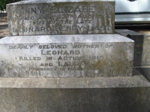 Leonard William Glandfield Last memorial plaque, Orange Cemetery. Image courtesy Orange Cemetery.