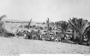 9th Australian Light Horse Regiment camped near El Arish, Sinai, 1916. Image courtesy Australian War Memorial.